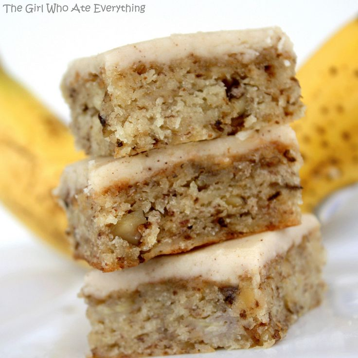 Crazy about Bananas? I am.  Love these Monkey Squares - Banana Bread Bars!  A rather dense and chewy bar cookie with a caramel-type frosting packs a lot of flavor into a bar.  From The Girl Who Ate Everything's excellent blog... TIP:  Know what I add for extra banana flavor?  A jar of baby food mashed Bananas, just any brand off the shelf.  Keeps them extra moist and banana-y.  ~~ Houston Foodlovers Book Club