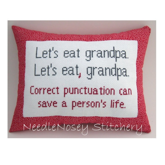 Cross Stitch Pillow Funny Quote Red and Gray Pillow by NeedleNosey, $20.00