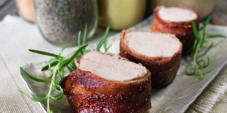 Bacon-wrapped Pork Tenderloin by Michael Smith. Absolutely fabulous recipe that's quick, easy, and delicious! Lots of options for seasoning. Next on my list -- orange marmalade and some curry powder tossed into the mix!