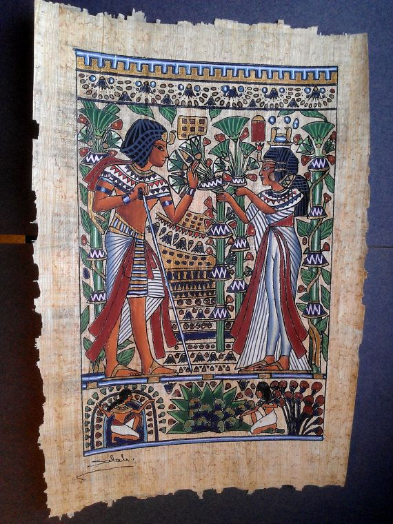 Vintage Genuine Hand Painted Egyptian Papyrus Scene by IsisJeweler