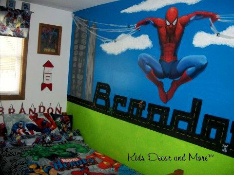 Superhero Spiderman Custom Bedroom Boys Wall Mural Hand Painted Part 81