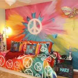 Rainbow colours and peace signs - great theme for kids or teens bedroom