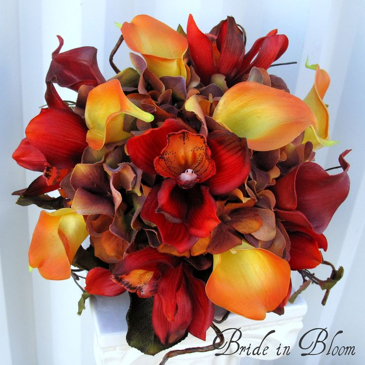 Wedding bouquet autumn fall bridal bouquet real touch orchids calla lilies red orange brown. $125.00, via Etsy.