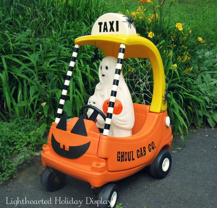Ghoul Cab Co. ~ Repainted Little Tikes Cozy Coupe into a whimsical Halloween decoration.