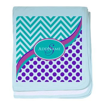 Teal Violet Chevron Dots Personalized baby blanket