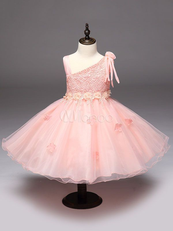 7bed055a88 Soft Pink Flower Girl Dresses Lace Tutu Dress Asymmetrical Neckline Beaded  Sash Knee Length Kids Party Dress