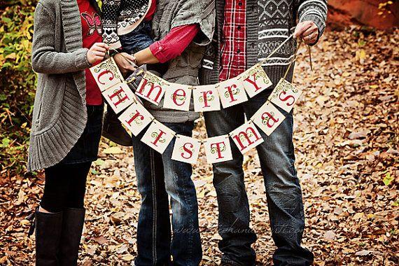 Christmas Banner MERRY CHRISTMAS by bekahjennings on Etsy