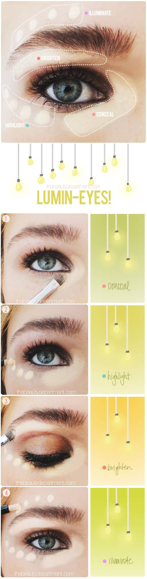 How to illuminate your eyes, a step-by-step guide from thebeautydepartment.com