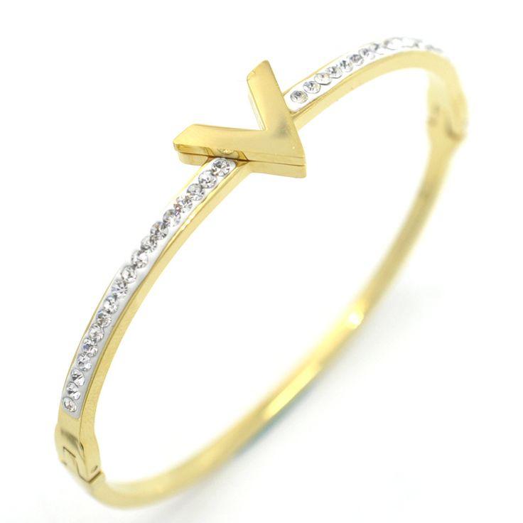 Stainless Steel rose gold color bracelet white mud large font V titanium love bracelet bangle wholesale refined beauty #Affiliate