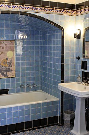 Cheviot Hills bath with original blue terra cotta tile.