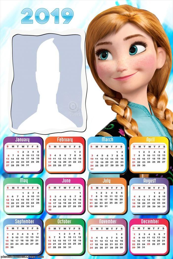 Frozen December Calendar 2019 Printable Anna Princess Frozen Calendar 2019 Frame Photo Montage Free Online