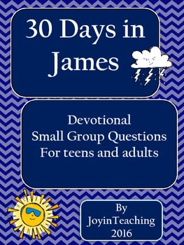 Print these short devotionals out and put them in a folder or cut out each day and put them all on a ring to use each day. Each day includes a reference to a passage in James to read and then some questions to discuss.   You could do this in a small group or by yourself.