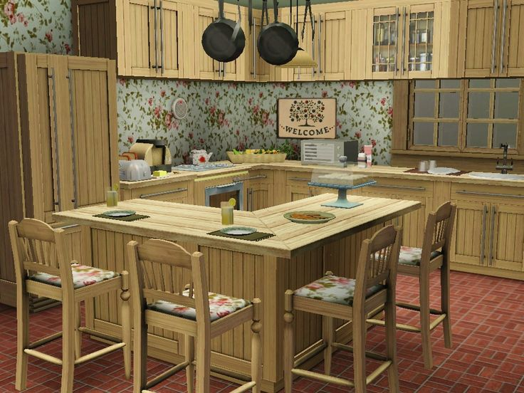 Cute and shabby country kitchen design created in the for Sims 3 kitchen designs
