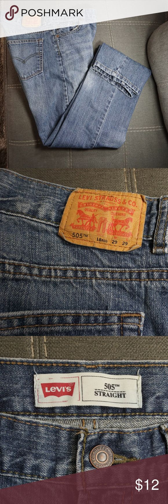 Levis 505 Straight Cut Jeans (Boys) Levis Straight Cut Jeans in Good Condition. Size 18 Regular. See Pictures for measurements. Levi's Bottoms Jeans