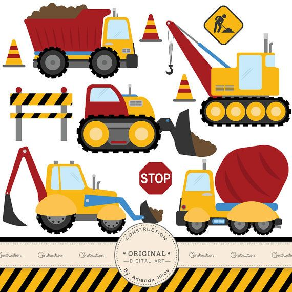 Premium Construction Clipart for Digital Scrapbooks, Crafting, Invitations, Web - Truck Clipart, Construction Clipart, Construction Clip Art