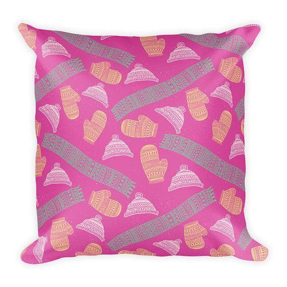 18 x 18 Winter Pattern Mittens Scarfs Couch Decor