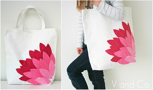 Hand Appliqued Bag--I love appliqué : Petal Bag, Sewing, Craft, Appliqued Petal, Tutorial, Diy, Bags