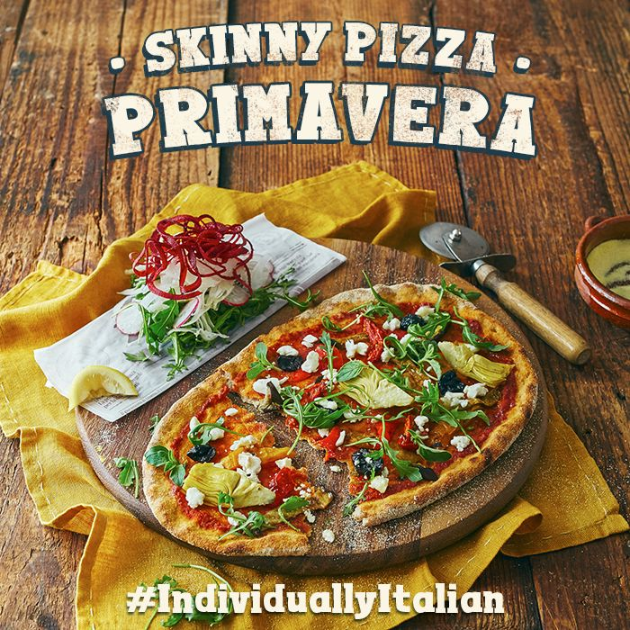 Our Skinny Pizzas are made on our NEW wholemeal, white & spelt base, served with an Italian naked slaw. Goats. cheese, roasted aubergine, artichokes, peppers, slow roasted tomatoes, olives & fresh oregano. Toppings go on cold after cooking for a lighter taste. #IndividuallyItalian