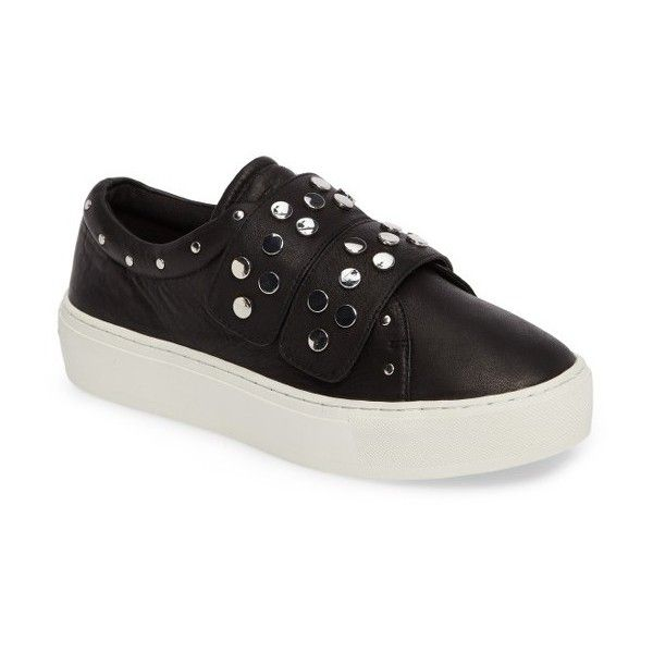 Women's Rebecca Minkoff Natasha Studded Platform Sneaker ($165) ❤ liked on Polyvore featuring shoes, sneakers, black, studded sneakers, platform shoes, black velcro shoes, black leather trainers and leather platform sneakers