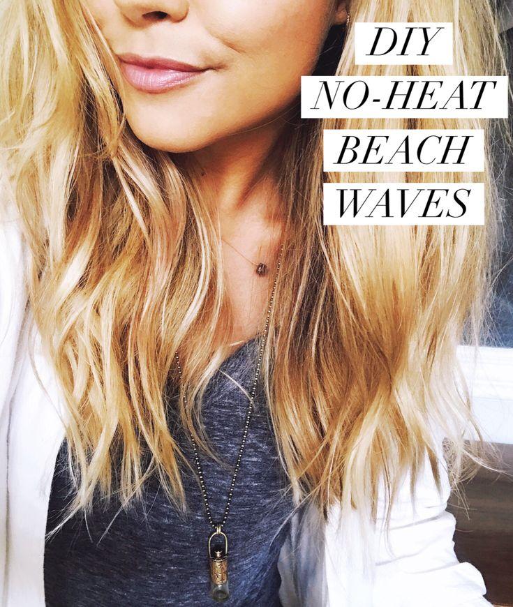 How to get beachy waves with no heat. DIY beach waves hair spray recipe. in 2020 | No heat beach ...