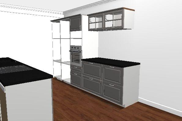 Ikea Home Planner Tyhjät kaapit on vain jääkaapin ja pakasteen paikat. Uunin yläpuolella paikka mikrolle.