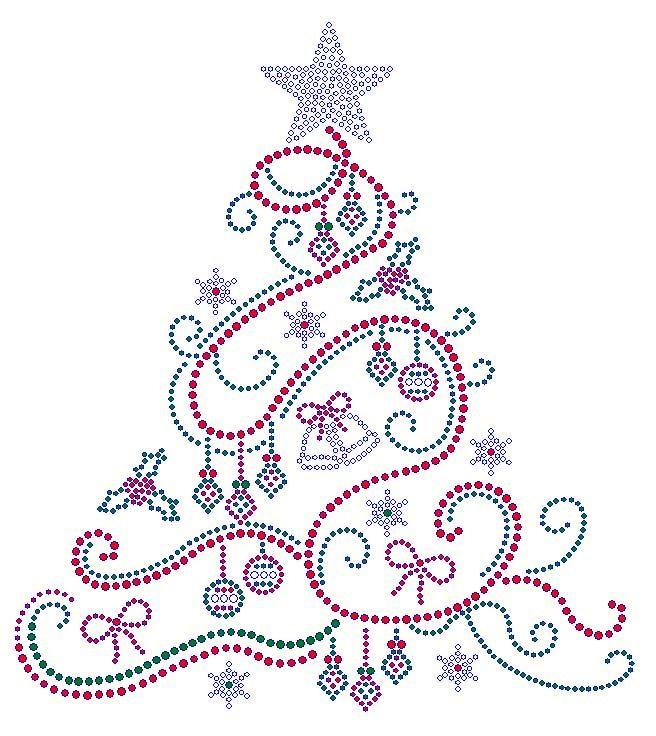 Swirl Christmas Tree with Color Rhinestone Transfer