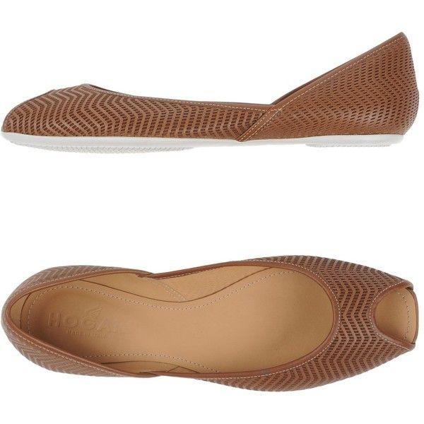 Hogan Ballet Flats featuring polyvore, women's fashion, shoes, flats, camel, ballet shoes, leather flats, camel flats, leather flat shoes and open toe shoes