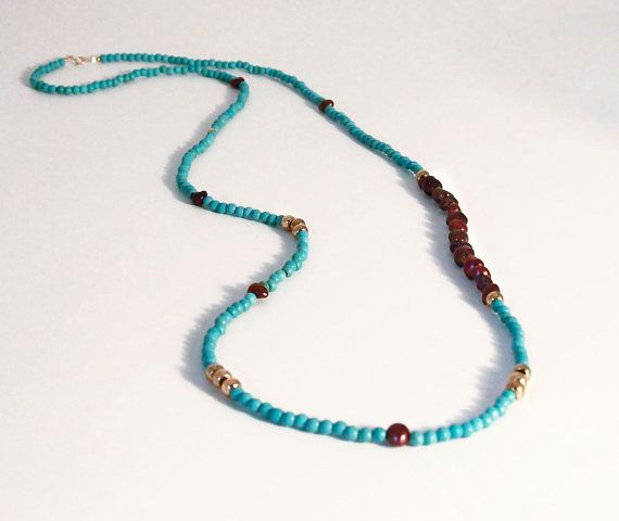 Anyone choosing a turquoise is sure to enjoy a piece of Heaven on Earth.  Long turquoise bead 4mm necklace with nugget by anypearljewelry