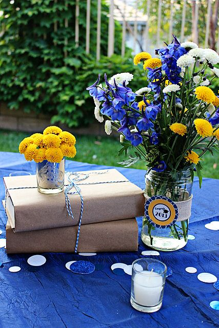 Love the wrapped books for table centerpieces