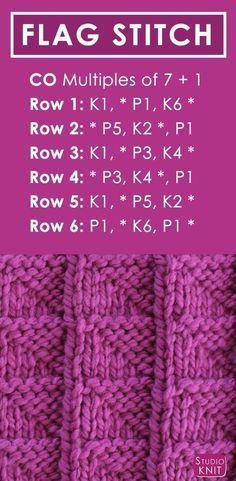 Aprenda como tricotar o ponto da BANDEIRA com teste padrão livre + vídeo