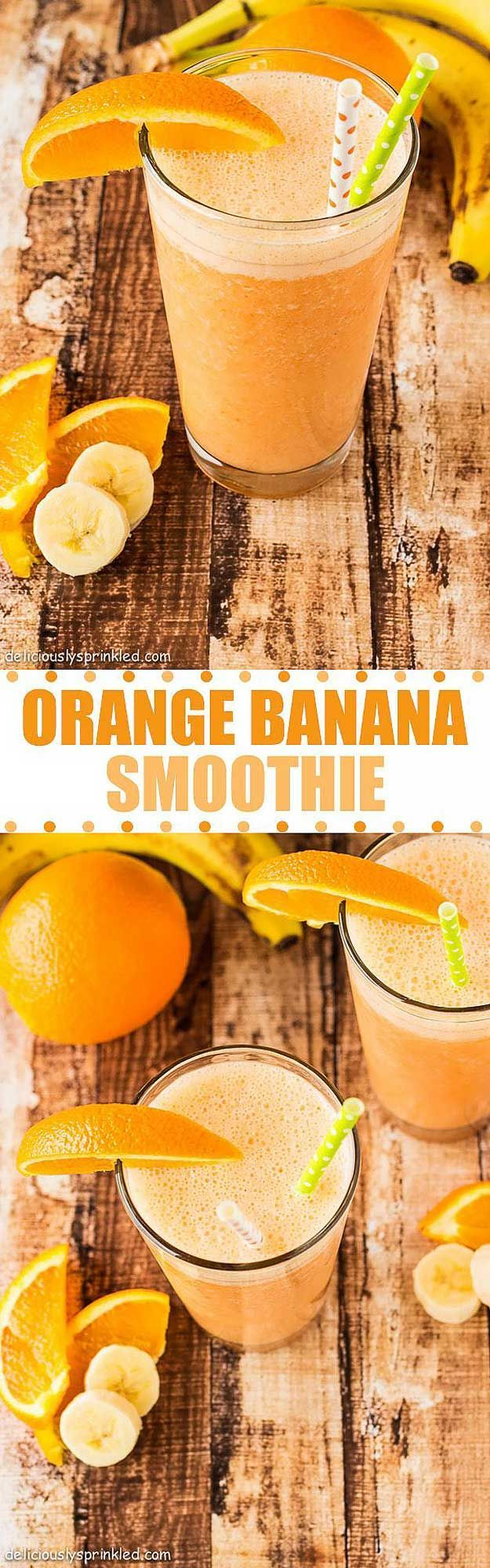 Healthy smoothie recipes and easy ideas perfect for breakfast, energy. Low calorie and high protein recipes for weightloss and to lose weight. Simple homemade recipe ideas that kids love.  |  Orange Banana Smoothie  |  http://diyjoy.com/healthy-smoothie-recipes