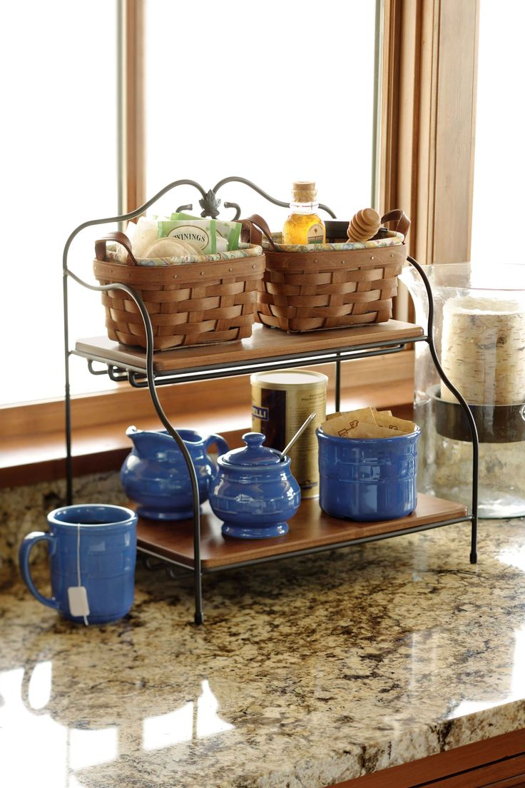 Kitchen countertop storage ideas - Keep Your Tea And Coffee Organized With Longaberger Baskets Pottery And Wrought Iron Pieces