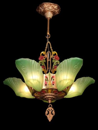 ANTIQUE-ART-DECO-GREEN-GLASS-5-SLIP-SHADE-CHANDELIER-LIGHTS-LAMPS-FIXTURE-c1930