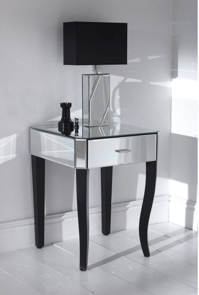 Bedroom Furniture Mirrored Bed Side Table Mixed Black Wooden Legs And Shaded Table Lamp Night Tables Fo Mirrored Side Tables Glass Side Tables Glass Nightstand