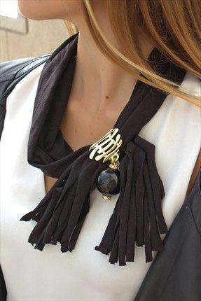 Siyah Top Şal Kolye QMAA9545 Queen Mama | Trendyol