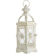 Jeweled Hexagon White Metal Small Lantern