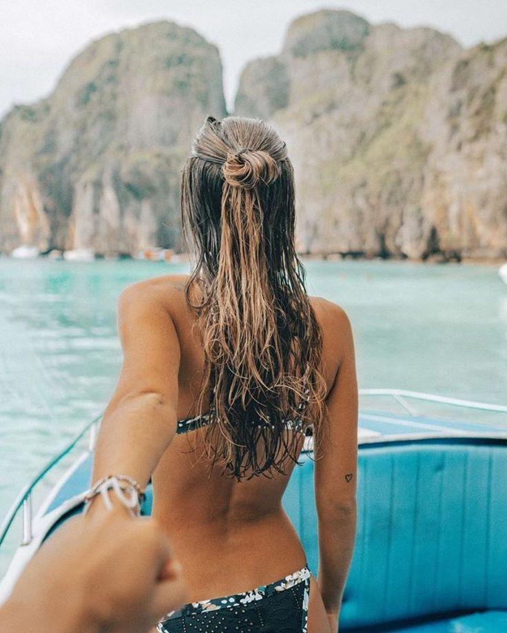 Dream girl @belenhostalet, exploring Phi Phi Island in her Liberty Tanga Pant + Liberty Tri Bralette. X #peonygirl