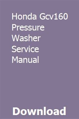 Honda Gcv160 Pressure Washer Service Manual download pdf