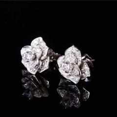[ 20% OFF ] Free Shipment Designer Style Women Sterling Silver With Platinum Plated Zircon Camellia Earring