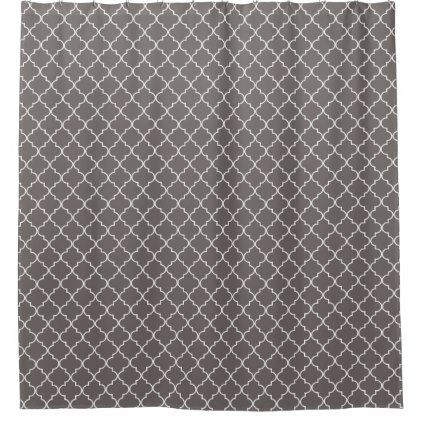 Grey and White Moroccan Quatrefoil Pattern Shower Curtain - elegant gifts gift ideas custom presents
