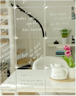 i actually like this idea to put quotes on and have as a feature in a room then a mirror for use