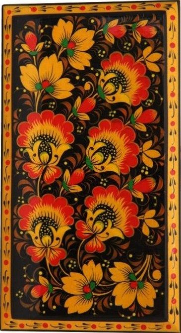 Folk Kh0khloma painting from Russia.