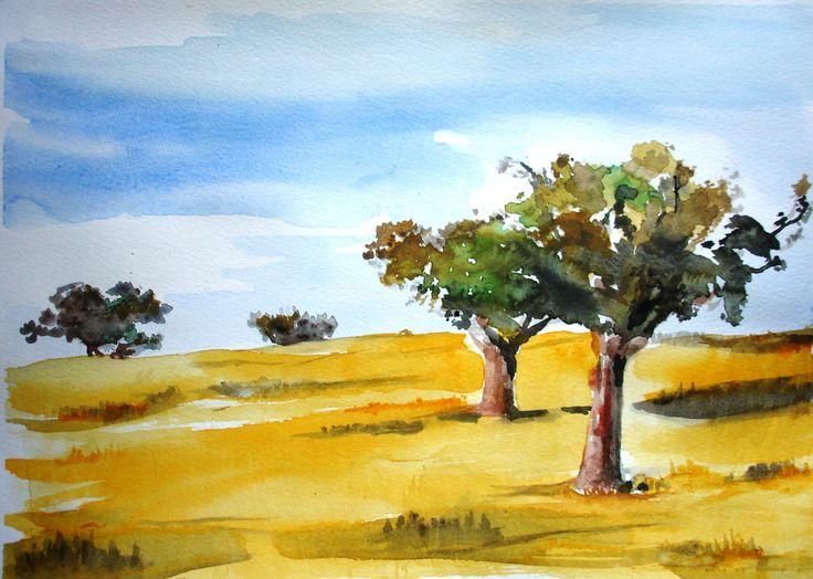 Estremoz Sousel Aquarela Painting