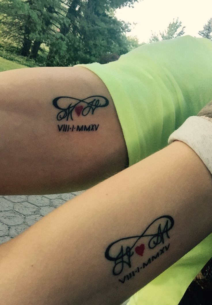 Our matching tattoos with our wedding anniversary :) always and forever 8-1-2015