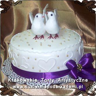 056. Tort z dwoma gołąbkami. Cake with pigeons.