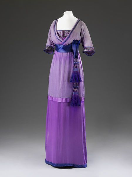 Evening dress  Place of origin: London, England (made)  Date: 1912 (made)  Artist/Maker: Lucile, born 1863 - died 1935 (designer)  Materials and Techniques: Silk, chiffon, satin, embroidered and appliqued metal thread