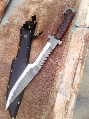 golok custom tribal rock pattern tracker blade