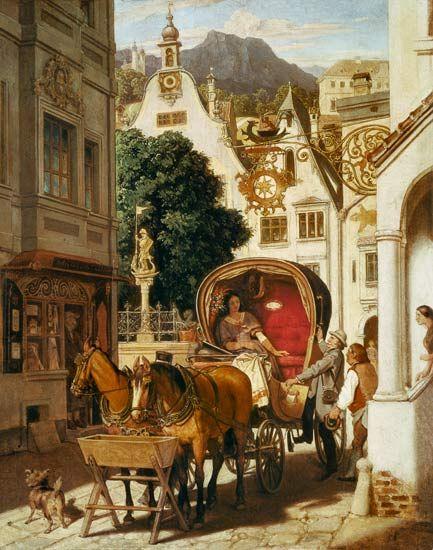 """""""Hochzeitsreise"""" (1867) von Moritz Ludwig von Schwind (geboren am 21. Januar 1804 in Wien, gestorben am 8. Februar 1871 in Niederpöcking, Oberbayern), österreichischer Maler und Zeichner der Spätromantik."""