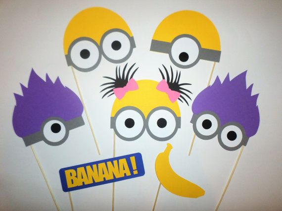 Minions photo booth props Minions decorations Minions birthday Party hats…