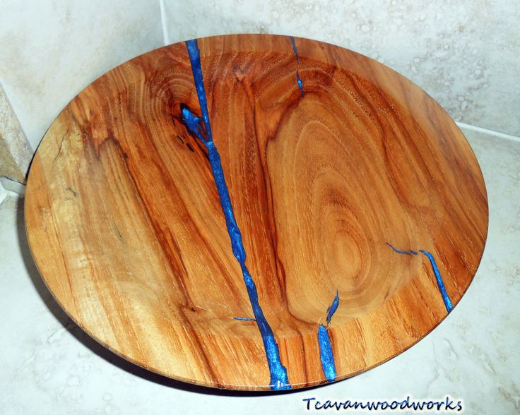 Pecan Wood Bowl With Electric Blue Epoxy Resin Inlay